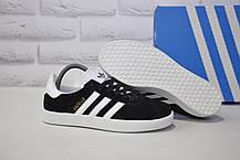 Подростковые, женские кроссовки кеды замшевые в стиле Adidas gazelle черные