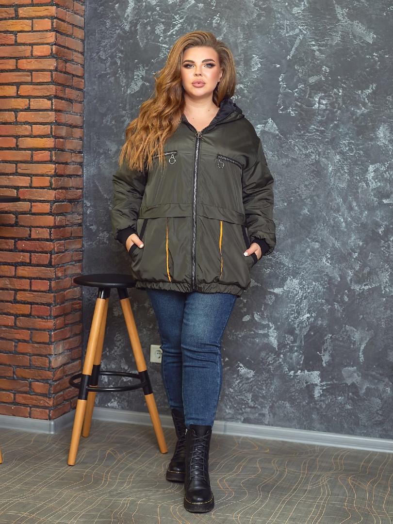 Р. 50-60 Стильна жіноча демісезонна куртка великих розмірів на синтепоні 100 хакі