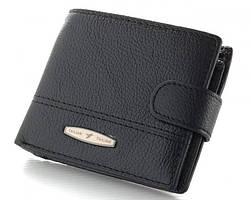 Мужской кожаный кошелек маленький Tailian T-1507 Черный