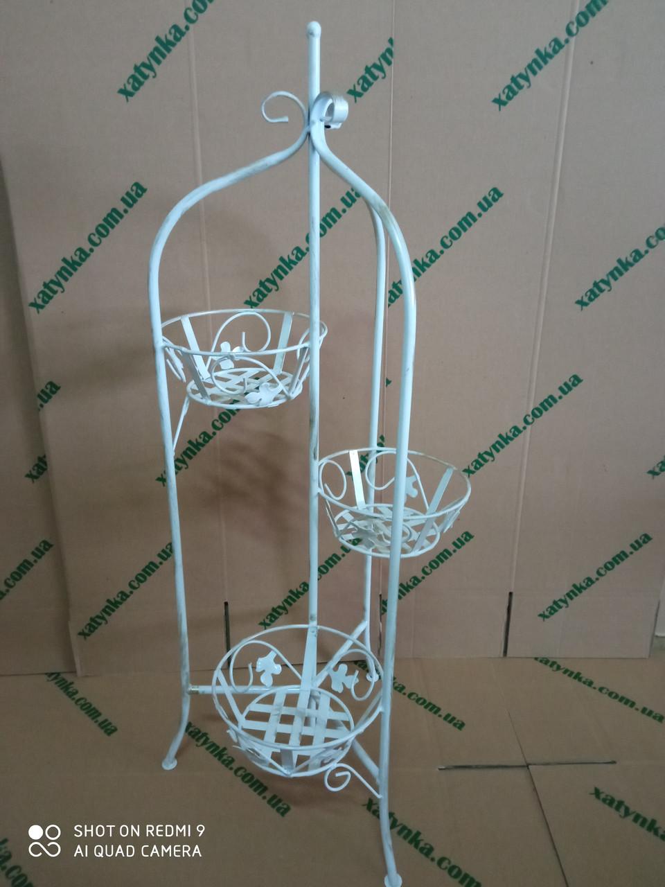 """Подставка для цветов кованая """"Замок"""" на 3 вазона / Підставка для вазонів / Стойка под цветы"""