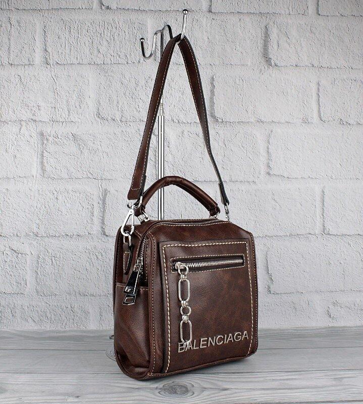 Рюкзак-сумка женский кожзам, коричневый 90681