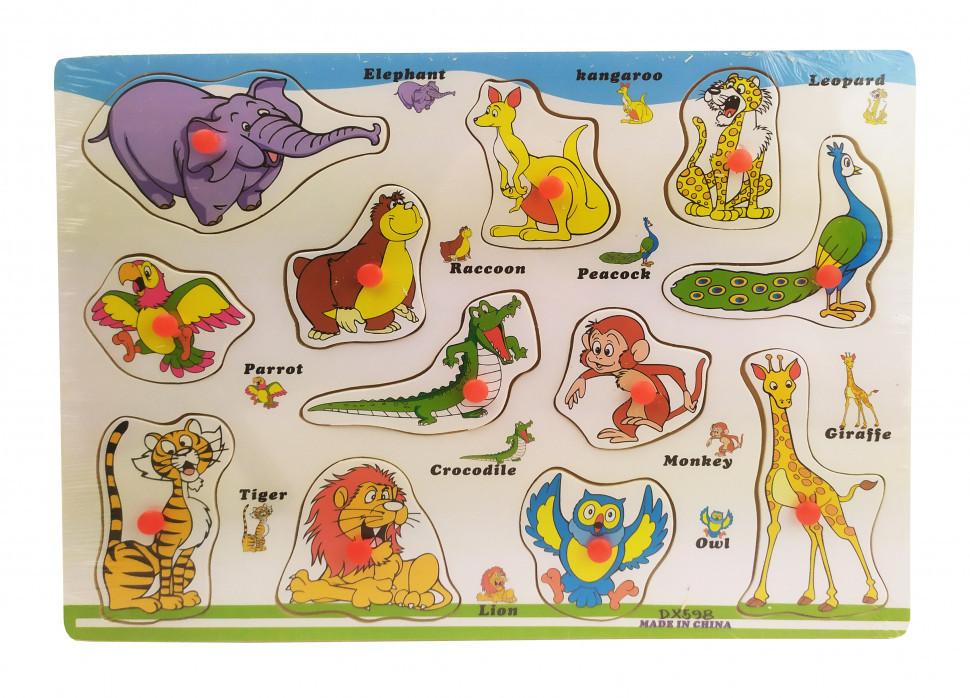 Деревянная игрушка Рамка-вкладыш THS-015 (Животные)