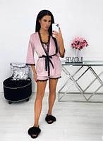 Жіноча піжама з халатом,комплект жіночий велюровий новинка 2021
