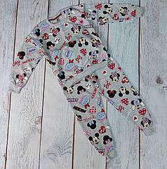Детская пижама для девочки пижамка Минни Маус серая 8-9 лет