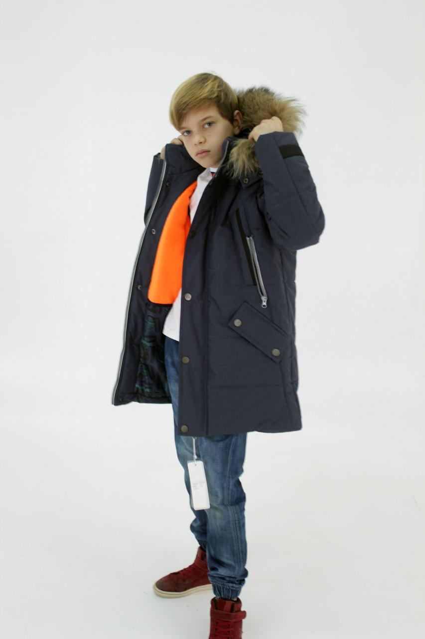 Синя куртка на підлітка зимова, 140-164