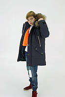 Синяя куртка на подростка зимняя, 140-164