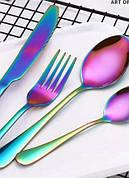 Райдужні прибори столові ложки, виделки, ножі хамелеон нержавіюча сталь | Набір столових приладів (Хамелеон) |