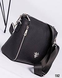 Женская черная сумочка  на ремне натуральная кожа