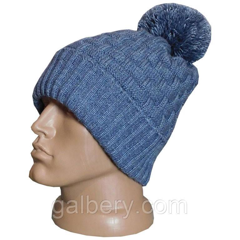 Утеплена шапка біні з помпоном