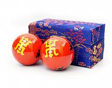 Массажные шары Баодинга пара Эмаль Двойная удача красные 4,7 см