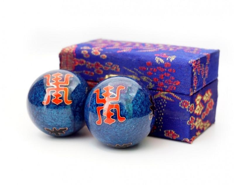 Масажні кульки Баодинга пара Емаль Подвійна удача сині 4,7 см