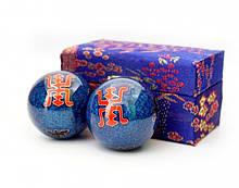 Массажные шары Баодинга пара Эмаль Двойная удача синие 4,7 см
