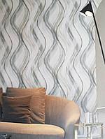 Обои виниловые на флизелине Marburg Shades черные серые полосы волны на светлом фоне, фото 1