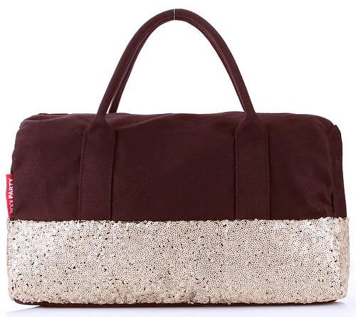Модная женская сумка POOLPARTY ROCK'N'ROLL HANDBAG poolparty-rocknroll-brown-gold коричневая