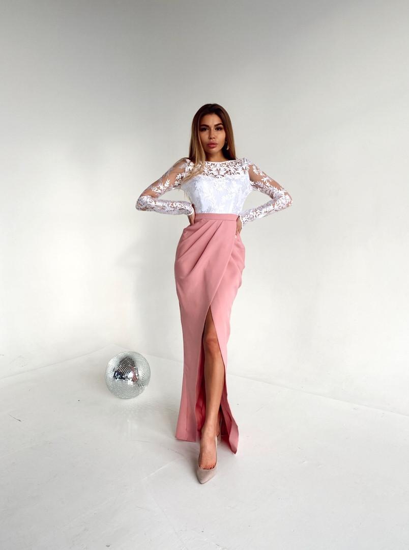 Элегантное платье,  креп костюмка, сетка. Размер: 42-44. Разные цвета  (914)