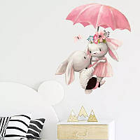 """Виниловые наклейки на стену, окна, шкаф, в детскую """"зайки на зонтике"""" 42см*50см (лист 30*60см)"""