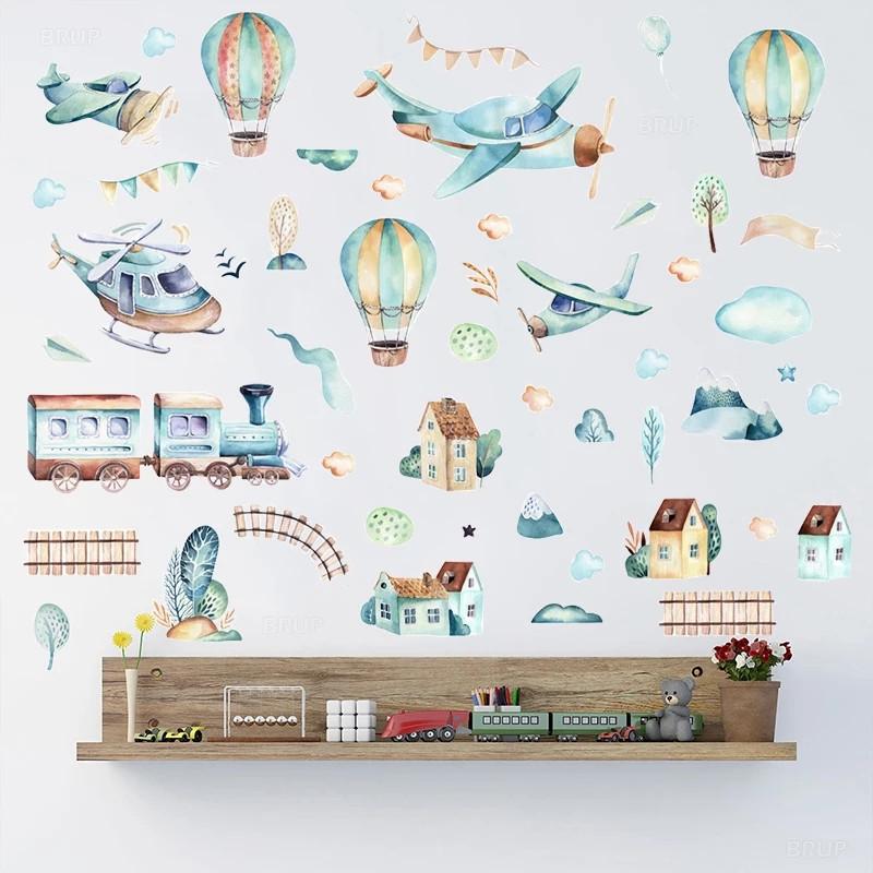 """Наклейка на стену в детсад, в детскую комнату """"самолет в облаках, воздушные шары"""" 80см*90см (листа 50*70см)"""