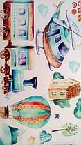 """Наклейка на стену в детсад, в детскую комнату """"самолет в облаках, воздушные шары"""" 80см*90см (листа 50*70см), фото 3"""