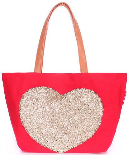 Женская повседневная коттоновая сумка POOLPARTY Lovetote pool-lovetote-red красная
