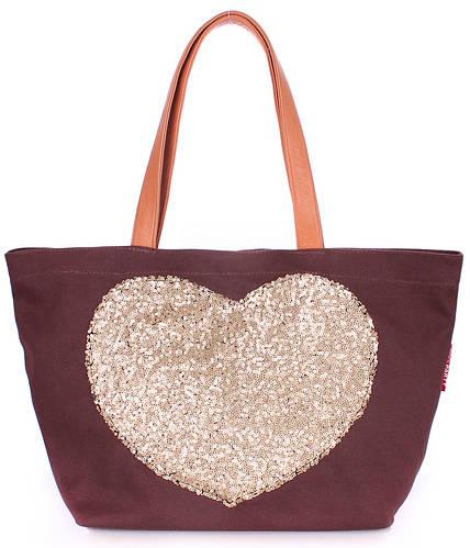Женская повседневная коттоновая сумка POOLPARTY Lovetote pool-lovetote-brown коричневая