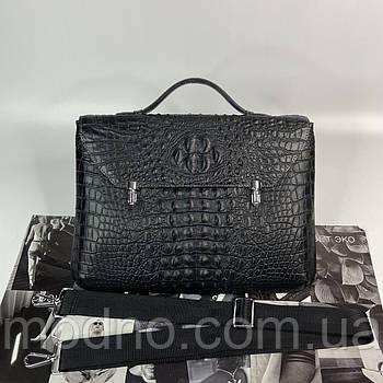 Мужской кожаный деловой портфель со структурой под крокодила черный