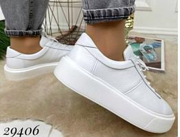 Кеди жіночі білого кольору зі шкіри на шнурках Nina_mi,