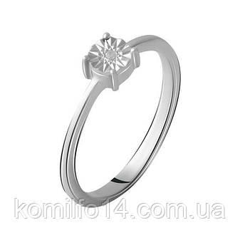 Серебряное кольцо с натуральным бриллиантом, фото 2