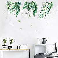 """Виниловые наклейки на стену, на витрину, шкафы """"Большие зеленые листья """" 102см*66см (лист 60*90см)"""