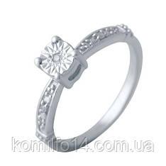 Серебряное кольцо с натуральным бриллиантом