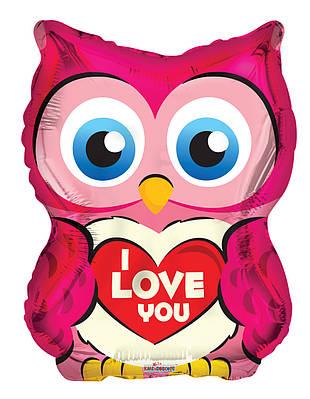 """К 18"""" Owl With Heart Shape. Шар воздушный фольгированный Совушка Я люблю тебя"""