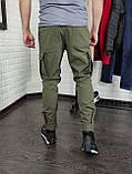Утепленные штаны карго из водоупорной ткани , хаки, фото 2