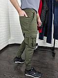 Утепленные штаны карго из водоупорной ткани , хаки, фото 5