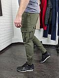 Утепленные штаны карго из водоупорной ткани , хаки, фото 4