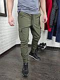 Утепленные штаны карго из водоупорной ткани , хаки, фото 3
