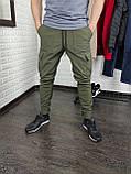 Утепленные штаны карго из водоупорной ткани , хаки, фото 6
