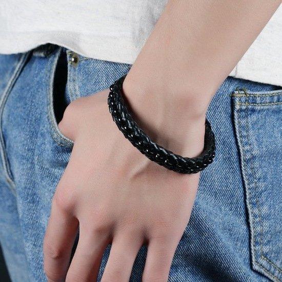 """Кожаный мужской плетеный браслет с магнитной застежкой и стальной вставкой """"Фетиси"""" черный"""