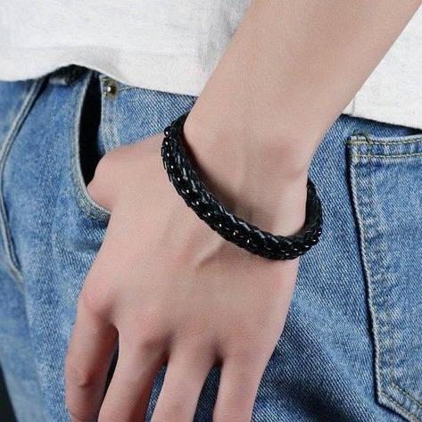 """Кожаный мужской плетеный браслет с магнитной застежкой и стальной вставкой """"Фетиси"""" черный, фото 2"""