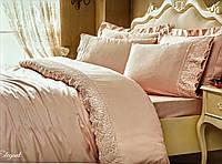 Комплект постельного белья Tivolyo Home Elegant Pudra Double сатин семейный пудра