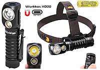 Налобный мощный фонарь WURKKOS Sofirn HD20+5000mAh Аккумулятор Lii-50E (2000LM, USB Type-C, Магнит, NW, 21700)