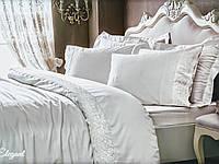 Комплект постельного белья Tivolyo Home Elegant Kirik Beyaz Double сатин семейный кремовый