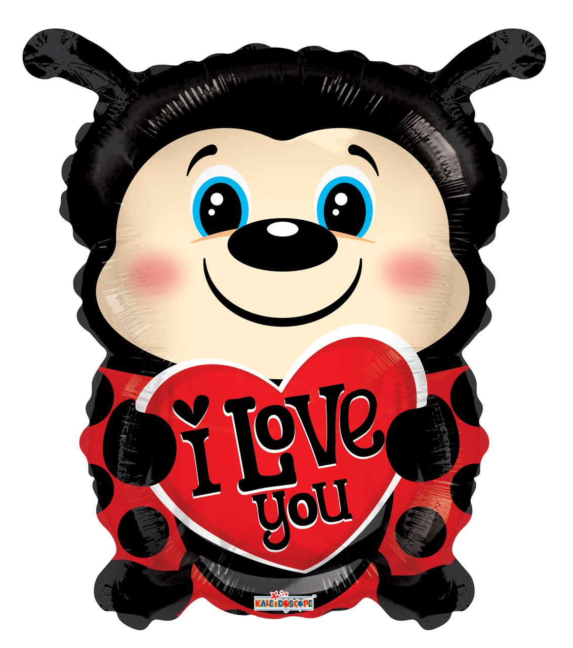 """К 18"""" I Love You Lady Bug Shape. Шар воздушный фольгированный Божья коровка Я люблю тебя"""