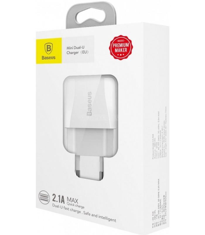 Зарядное устройство Baseus Mini Dual-U Charger (EU) 2.1A White (CCALL-MN02)