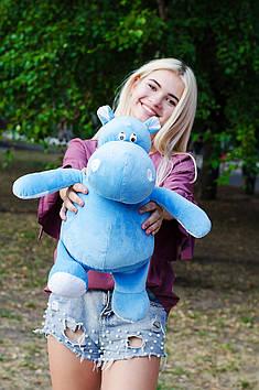 Плюшевий Бегемот Бадді 50 см Блакитний з білим