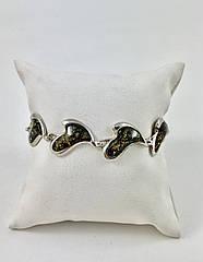 Браслет серебряный с янтарем 432ВRS3-з