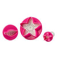 Плунжер для мастики Цветок, Листик, Звездочка 3шт