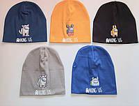 Детская трикотажная шапка для мальчика двойная р 52_54  оптом