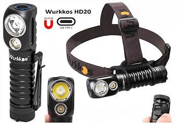 Налобный мощный фонарь WURKKOS Sofirn HD20 (2000LM, USB Type-C, IP68, Магнит, 5000k NW, Дальний+Ближний свет)