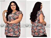 Женская туника-футболка лето от 50 до 64 Цветы