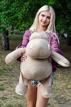 Плюшевий Бегемот Бадді 75 см Мокко з персиком