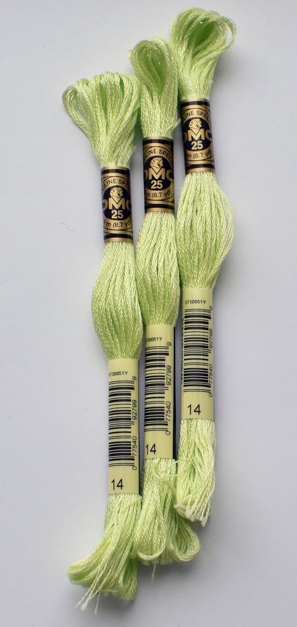 Нитки мулине DMC цвет 14 бледный яблочный зелёный, арт.117